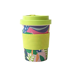 Reusable Bamboo Cup in Abstract Green print