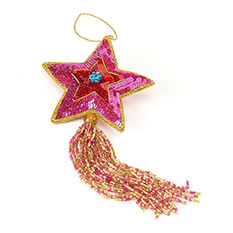 Star Tassel Pink Christmas Decoration
