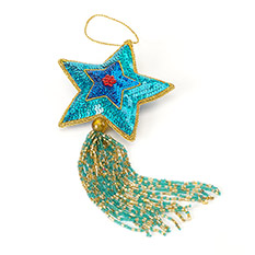 Star Tassel Turquoise Christmas Decoration
