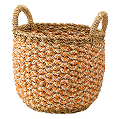 Medium Handwoven Saba Hogla Basket Orange
