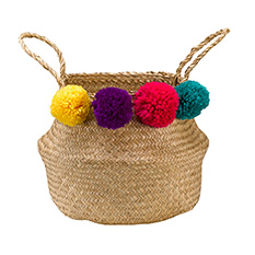 Small Rainbow Pom Pom Seagrass Basket