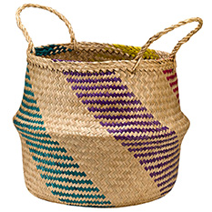 Medium Rainbow Seagrass Basket