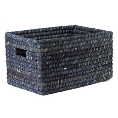 Large Recycled Sari Indigo Basket