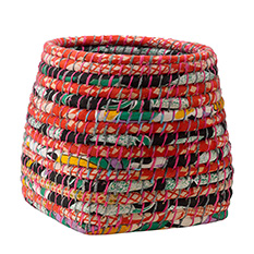 Medium Recycled Sari Storage Basket