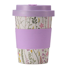 Bamboo Cup 350ml Purple Fine Floral