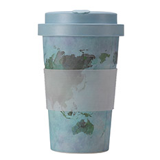 Bamboo Cup 400ml Blue Map