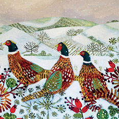 PAINTED PHEASANTS CHRISTMAS CARD (10 PACK)