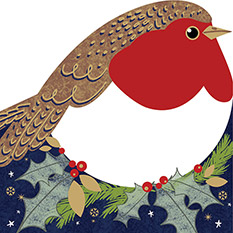 CHEERY ROBIN CHRISTMAS CARD (10 PACK)