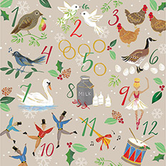 12 DAYS OF CHRISTMAS CHRISTMAS CARD (10 PACK)