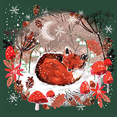 SLEEPING FOX CHRISTMAS CARD (10 PACK)