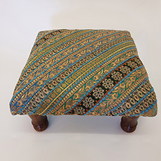 Blue Recycled Sari Footstool