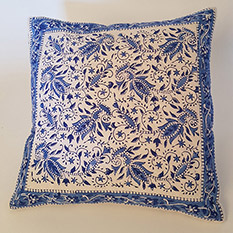 Blue Hand Block Printed Cushion