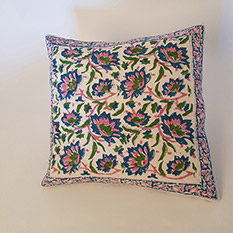 Blue & Pink Hand Block Printed Cushion