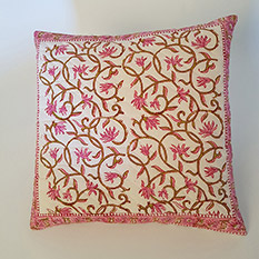 Pink Hand Block Printed Cushion