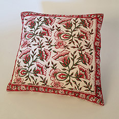 Red Hand Block Printed Cushion