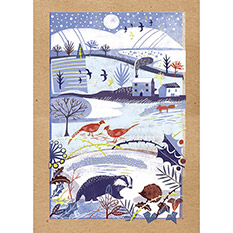Village Scene - Single Christmas Card