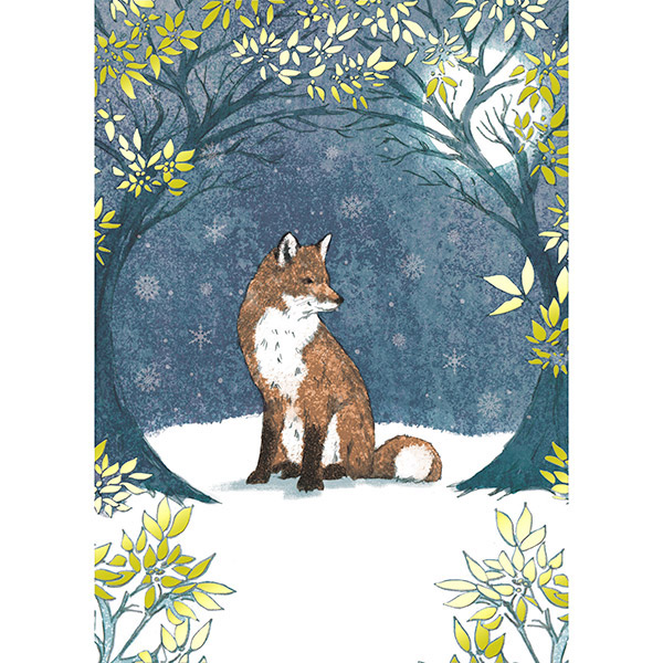 Midnight Fox - Single Christmas Card