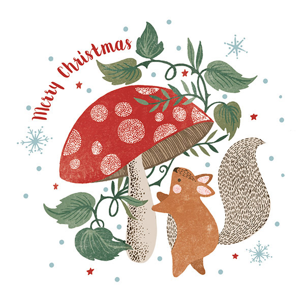 Squirrel and Mushroom - Single Christmas Card