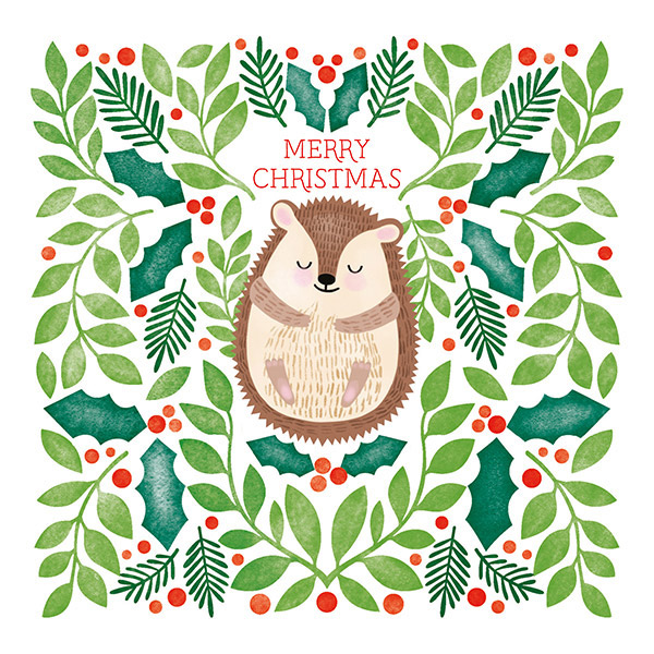 Hedgehog and Foliage - Single Christmas Card