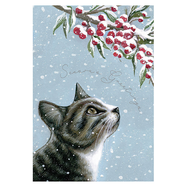 Cat and Berries - Single Christmas Card