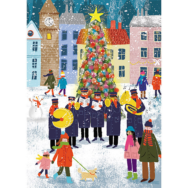 Community scene (Welsh) - Single Christmas Card