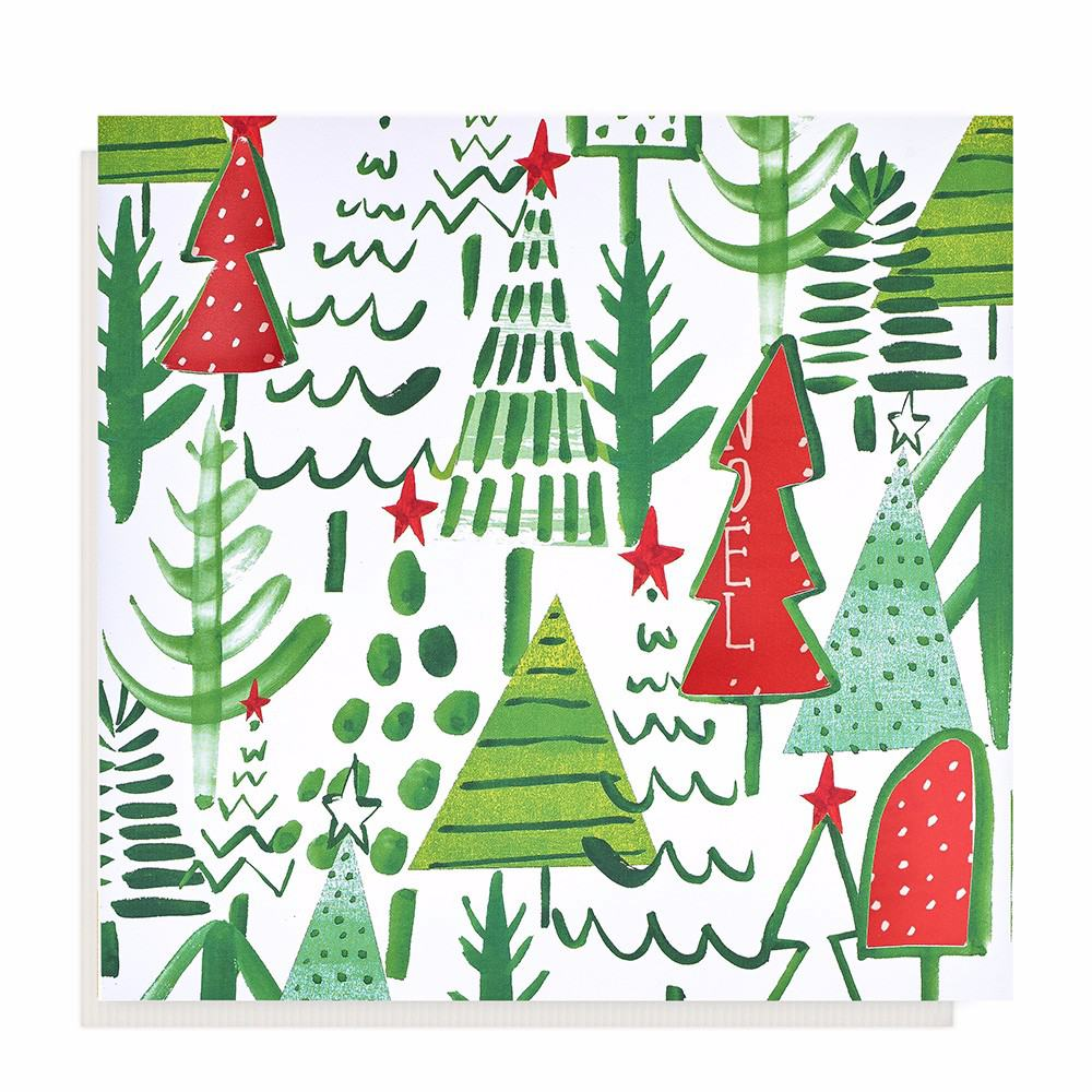 Oxfam Christmas Trees: Large Tree Pattern Christmas Card (10 Pack)