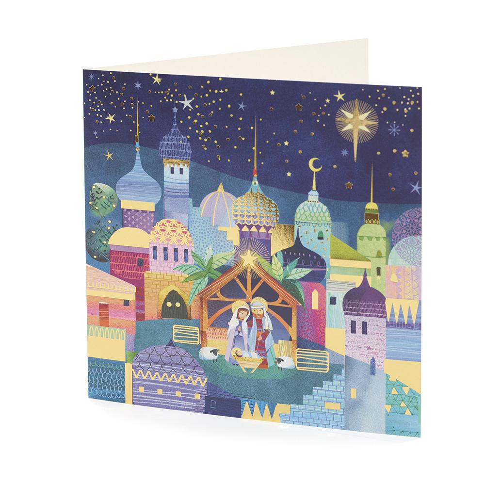 Large Bethlehem Scene Christmas Card (10 Pack)