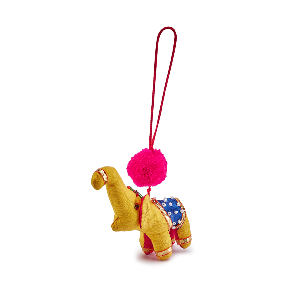 Oxfam Christmas Trees: Yellow Pom Pom Elephant Christmas Decoration